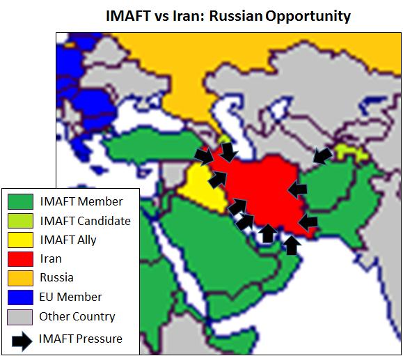 Islamic Military Alliance pressure vs Iran; expansion of Russia