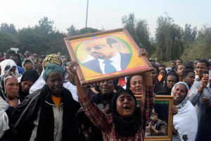 Ethiopians mourn the death of President Meles Zenawi in the capital of Addis Ababa on Aug. 21, 2012. Photo: Tiksa Negeri/Reuters
