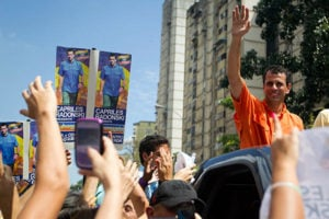 Henrique Capriles Radonski, running opposite President Hugo Chavez in Venezuela's next presidential election to be held Oct. 7. Capriles' campaign was forced to address corruption allegations when a campaign aide was caught on video supposedly taking a bribe. Photo credit: Reuters/Carlos Garcia Rawlins