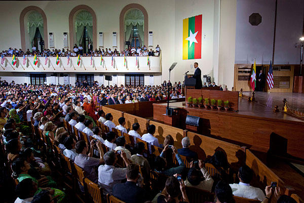 President Obama addresses the audience at Yangon University. Source: AP
