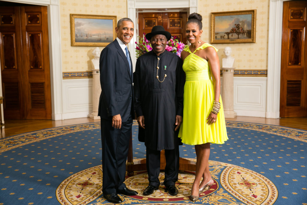 Goodluck Jonathan with President Barack Obama and First Lady Michelle Obama