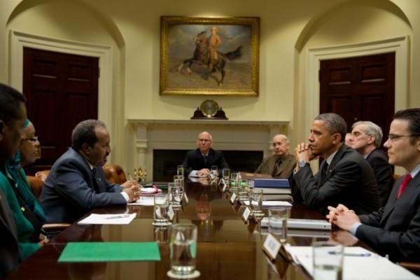 Somalia President, Hassan Sheikh Mohamud with President Obama (2013).