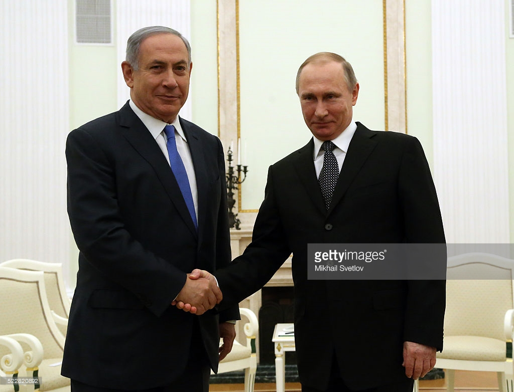 MOSCOW, RUSSIA - APRIL,21 (RUSSIA OUT) Russian President Vladimir Putin (R) greets Israeli Prime Minister Benjamin Netanyahu (L) during their meeting at the Kremlin, in Moscow, Russia, April,21,2016. Prime Minister of Israel is having a visit to Russia. (Photo by Mikhail Svetlov/Getty Images)