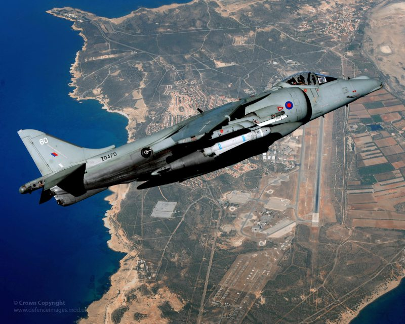A Joint Force Harrier jet is pictured high over RAF Akrotiri in Cyprus