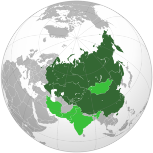 The Shanghai Cooperation Organization (SCO) comprised of Russia, China, Kazakhstan, Kyrgyzstan, Uzbekistan and Tajikistan.