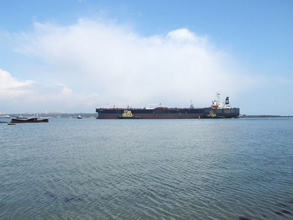 Crude oil tanker comes through the channel into Adzhalykskyi liman, Odessa Oblast, Ukraine. Photo Credit: Minami Himemiya
