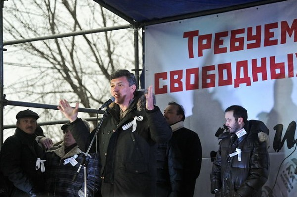 Boris Nemtsov at a rally in Moscow. Nemtsov was shot dead in Moscow on Friday. Photo Credit: Зураб Завахадзе