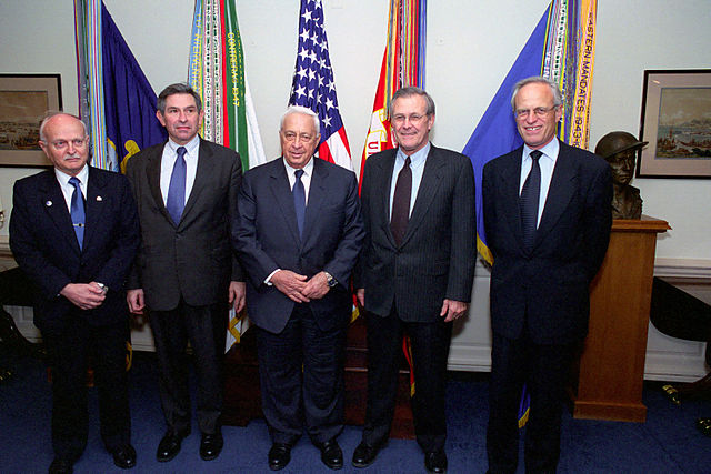 From the left, the Honorable David Ivry, Israeli Ambassador to the United States, Paul D. Wolfowitz, Deputy Secretary of Defense, Ariel Sharon, Israeli Prime Minister, Donald H. Rumsfeld, U.S. Secretary of Defense, and Martin Indyk, U.S. Ambassador to Israel, pose for a group photo at the Pentagon, Room 3E912, Washington, D.C., Mar. 19, 2001. Photo Credit: Robert Ward