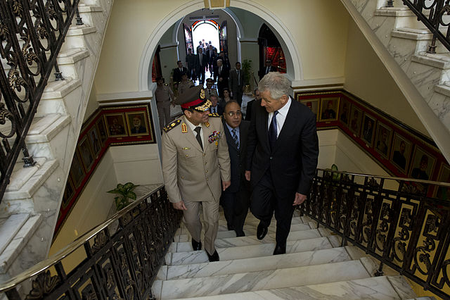 U.S. Secretary of Defense Chuck Hagel, right, walks with then-Egyptian Minister of Defense Abdel Fatah Al-Sisi into the Ministry of Defense in Cairo April 24, 2013. Photo Credit: Erin A. Kirk-Cuomo