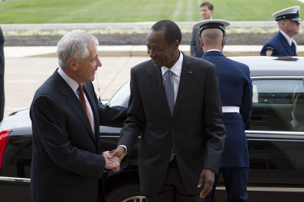Compaore and Chuck Hagel at the Pentagon in 2013 - (c) Flickr