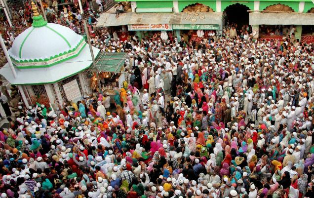"Gathering at a religious festival in Ajmer, India. This northern city of 550,000 has been selected to become a smart city, with infrastructure systems operated by ""smart"" technology. PM Narendra Modi unveiled the $7.5b plan on June 25. Photo: The Hindu (newspaper)"