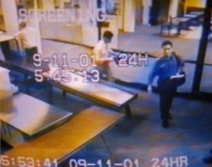 Hijackers Mohamed Atta and Abdulaziz al-Omari passing through security checkpoint at Portland International Jetport on the morning of September 11, 2001.