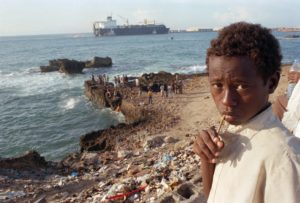 Troubled Boy near the Mogadishu Port