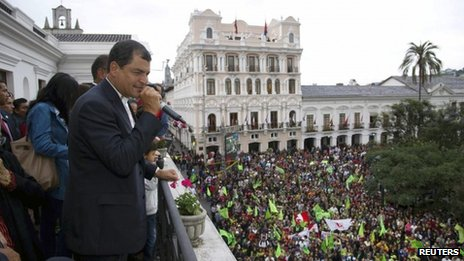 President Rafael Correa of Ecuador greets supporters in the capital Quito after winning reelection, Feb. 17, 2013. Photo: Reuters