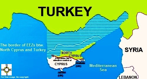 Disputed EEZ border between Cyprus and Turkey - via Wikimedia