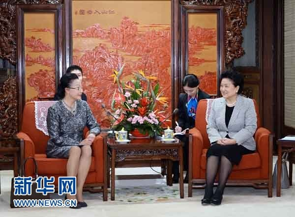 "Florence Fang and Chinese vice-premier Liu Yandong meet to discuss Fang's ""!00,000 Strong"" initiative (Xinhua)"