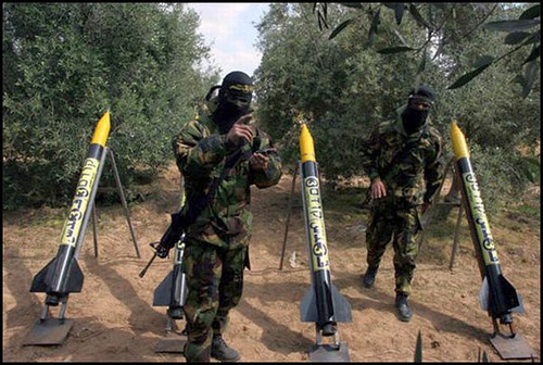 Militants prepare to launch locally produced Qassam rockets in Gaza. (Photo: muslimvillage.com)