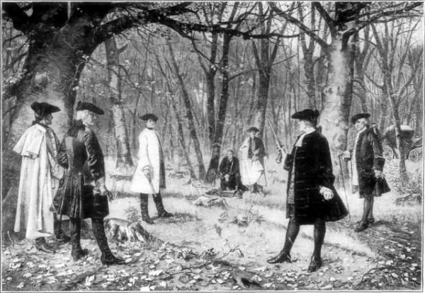 Dueling visions of the role America's government should play in commercial affairs date back to the days of Hamilton -- pictured above in his fatal encounter with Aaron Burr -- and continue with the renewed battle over reuathorization of the Export-Import Bank of the United States. Image courtesy of Wikimedia Commons.