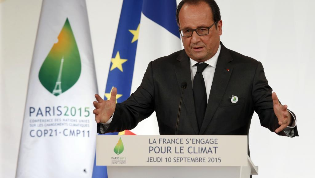 French President Hollande at the COP21 in Paris.
