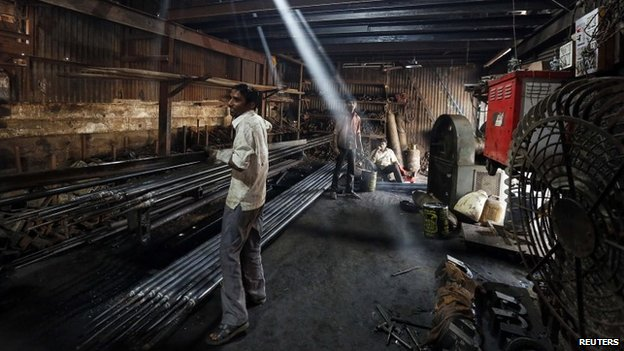 India's manufacturing sector has been targeted for support by Prime Minister Narendra Modi. Modi unveils his government's first full-year budget plan on Feb. 28, and believes manufacturing will provide jobs and stability for India's growing-while-fragile economy. Photo: Reuters via bbc.com