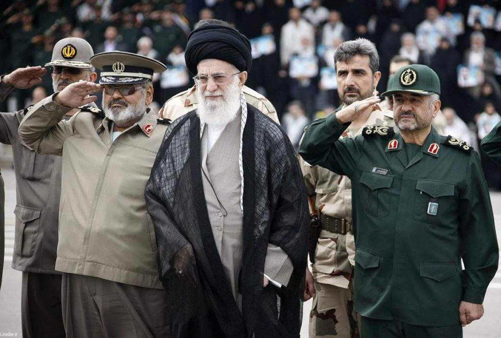 Supreme Leader Khamenei (center) with IRGC Major General Mohammad Ali Jafari (right). (United States Institute for Peace)