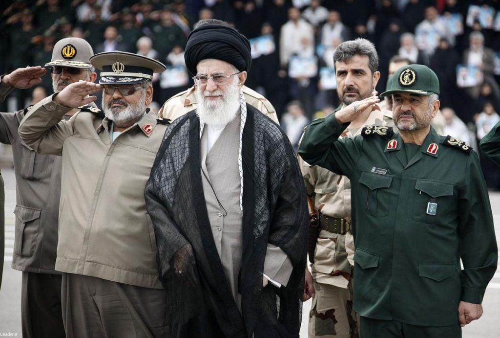 Supreme Leader Khamenei (center) with IRGC Major General Mohammad Ali Jafari (right). (United States Institute for Peace)