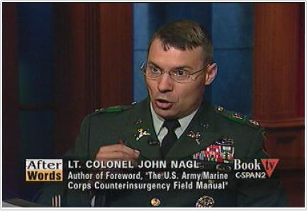 Although far less known than Gen. David H. Petraeus, Lt. Col. John A. Nagl played a major role in developing the counterinsurgency strategy for Iraq. (Photo: c-spanvideo.org)