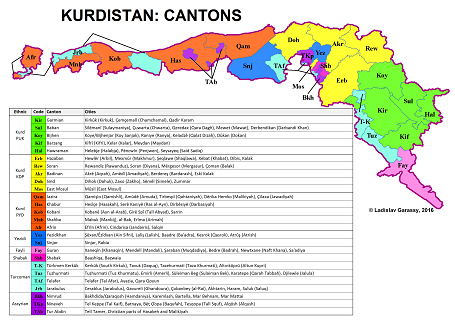 Cantons of the independent Kurdistan.