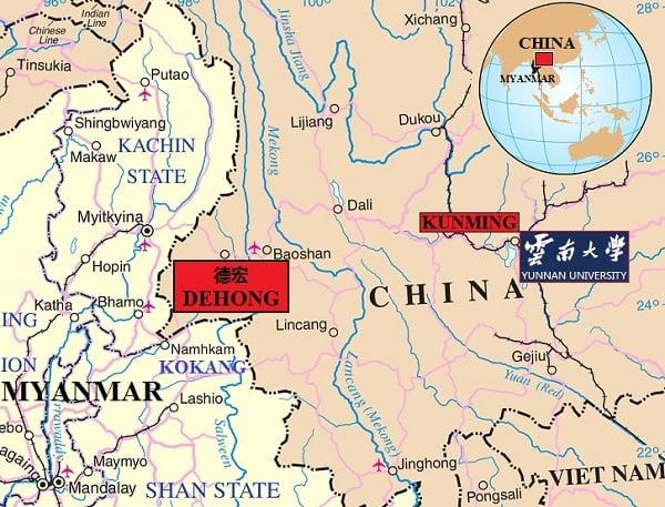 Northern Myanmar – Yunnan Province, China border region (Wikimedia Commons, modified)