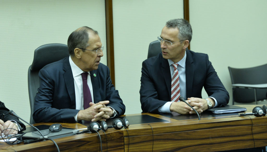 NATO Secretary General Jens Stoltenberg and Russian Minister of Foreign Affairs Sergey Lavrov