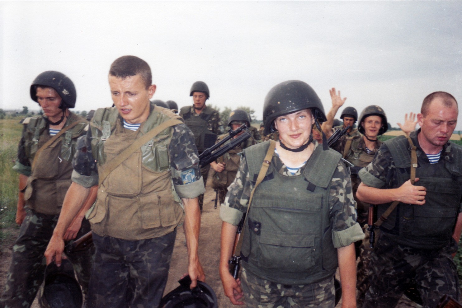 Nadiya Savchenko, third from left, is pictured before a deployment to Iraq in 2004. In Aug. 2015 she appeared in a Russian court to face murder charges, after allegedly being kidnapped from Ukraine. Many feel her trial is an example of Russia's impropriety in seeking justice for casualties in the Ukraine crisis. Photo: Savchenko family via Washington Post