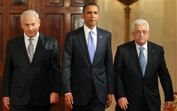 Israeli PM Benjamin Netanyahu, US President Barak Obama, and PA President Mahmoud Abbas.