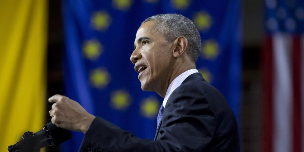 U.S President Barack Obama speaks in Hannover, Germany on April 25, 2016. (AP Photo/Carolyn Kaster)