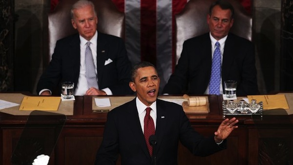 President Obama gives the State of the Union speech. Source: Getty/Fox News