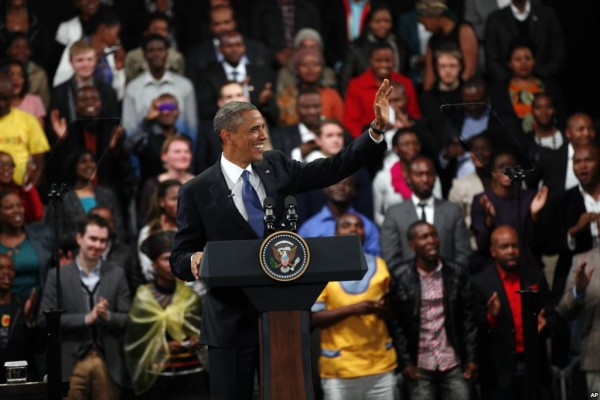 U.S. President Barack Obama delivers remarks and takes questions at a town hall meeting with young African leaders at the University of Johannesburg Soweto campus, South Africa, which the author attended, June 29, 2013. Photo courtesy of VoA.