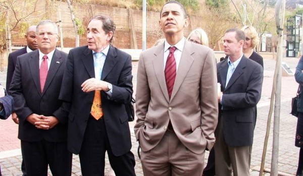 South African Constitutional Court Justice Albie Sachs is leading Barack Obama on a tour of the court in 2006 during his visit in SA. Photo courtesy of the American Embassy in South Africa.