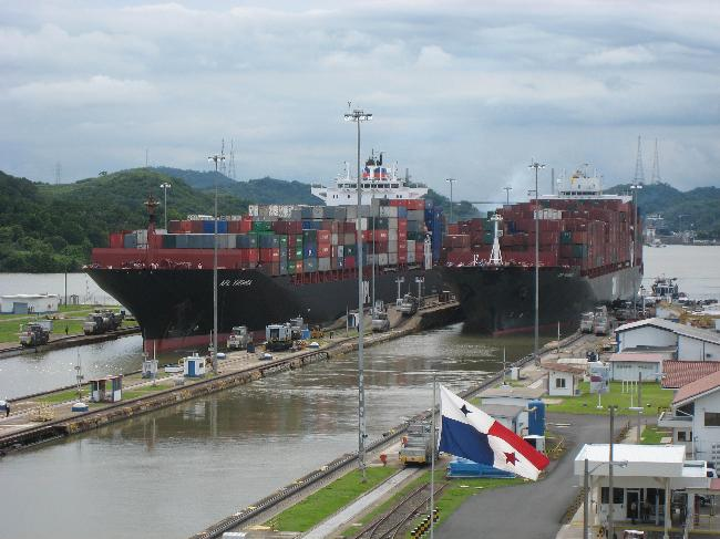 Ships passing through locks in the Panama Canal. Image: cia.gov