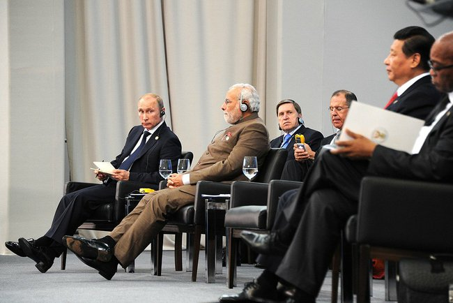 Putin at a BRICS summit in 2014. Photo Credit: Presidential Press and Information Office