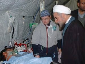 @HassanRouhani: Flash from the past: #Rouhani visits #US field hospital set up to treat survivors of 2003 earthquake in Bam pic.twitter.com/rgKNDN9r1V