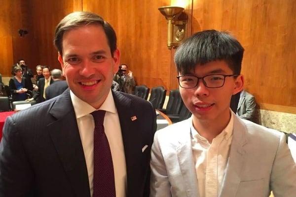 Senator Marco Rubio and Hong Kong democracy activist Joshua Wong (HKFP).
