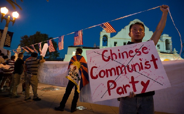 Protest at China Long March event in San Gabriel, CA (Sarah Reingewirtz, Pasadena Star-News)