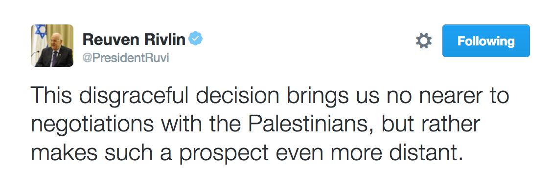 Rueven Rivlin tweet in reponse to UNSC resolution