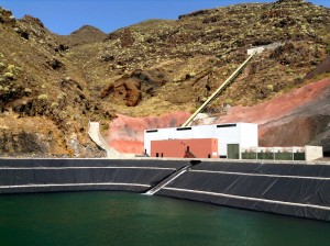 Water storage facility at El Hierro, part of the Canary Islands. The small island anticipates it will operate with completely renewable energy by end of this year. Source: Lauren Frayer/NPR