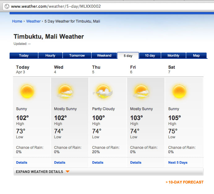 Timbuktu Weather Report From Wwwweathercom Foreign Policy Blogs - Weatherccom