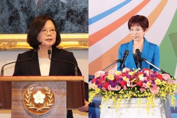 Taiwanese president Tsai Ing wen, pro-Beijing opposition leader Hung Hsiu-chu (ETLife)
