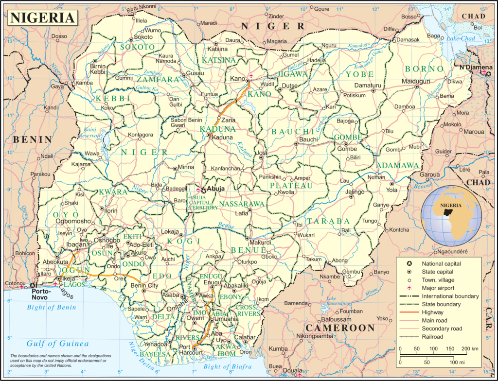 Map of Nigeria - via Wikimedia