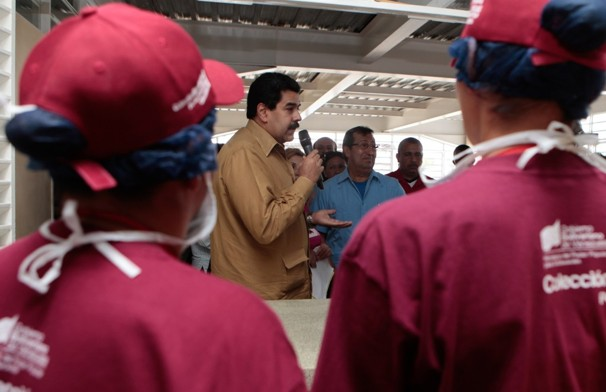 Nicolas Maduro (center), Vice President of Venezuela, speaks to students at a school opening on Jan. 18, 2013. Maduro has become the visible face of the Venezuelan government after President Hugo Chavez has not been seen for over a month after undergoing cancer treatment. It is unclear who will lead Venezuela going forward. Photo: Miraflores Press Office/Associated Press