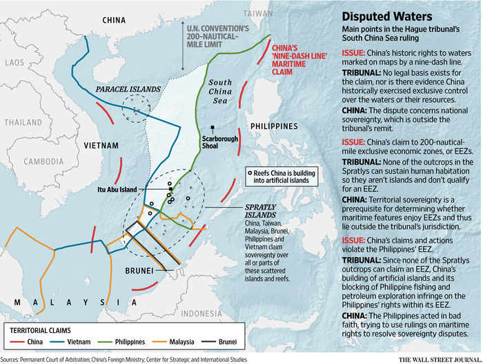 Territorial claims over South China Sea. (Wall Street Journal)