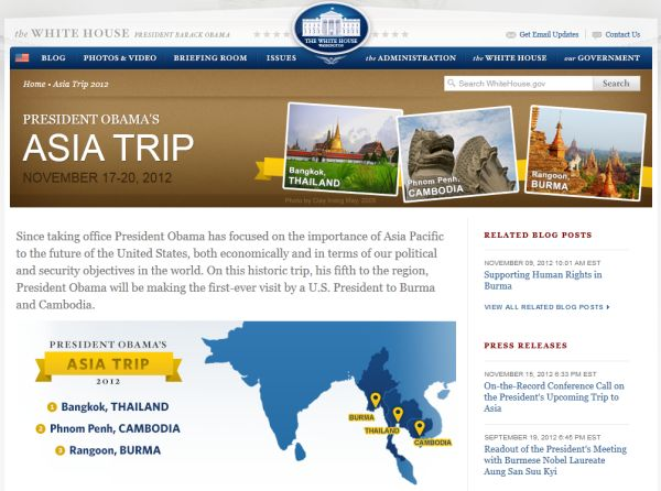 President Barack Obama goes to Thailand, Burma and Cambodia for his first overseas trip since winning reelection. Image; White House