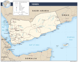 Today's Yemen was formed from the merger of the former Yemen (North Yemen)and South Yemen (much of which lies to the east). (Map: CIA)